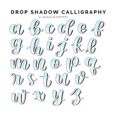 alphabet lettering with shadow Lettering Guide, Hand Lettering Tutorial, Hand Lettering Alphabet, Cursive Letters, Alphabet Design, Creative Lettering, Lettering Styles, Brush Lettering, Bullet Journal Font