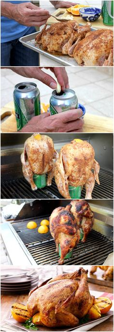 Orange Grilled Beer Can Chickens Grilling Grilled Whole Chicken, Beer Can Chicken, Canned Chicken, Stuffed Whole Chicken, Rotisserie Chicken, Receta Bbq, Grilling Recipes, Cooking Recipes, Healthy Grilling