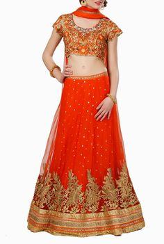 Abhilasha & Abhishek #Orange #Lehenga & #Choli #ethnic #traditional #ethnicwear #onlineshopping #feminine #gorgeous