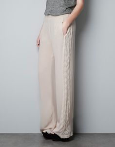 WIDE TROUSERS WITH EMBROIDERED SIDES - Trousers - Woman - ZARA United States