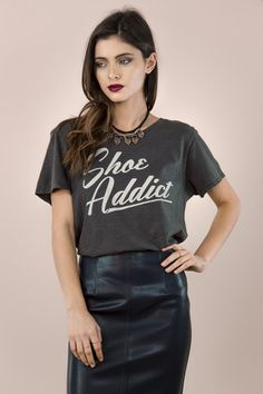 Shoe Addict   #shopsignorelli #signorelli #ashleytisdale #fashion #catalogue #graphictee #statementtee