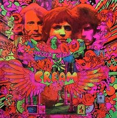 The psychedelic cover art for Cream's album Disraeli Gears in 1967 was created by Australian artist Martin Sharp, who lived in the same building as Eric Clapton. Greatest Album Covers, Rock Album Covers, Classic Album Covers, Music Album Covers, Best Album Art, The Velvet Underground, Underground Garage, Eric Clapton, Jimi Hendrix
