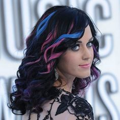 dark brown hair with pink highlightspeekaboo highlights on dark hair pink and blue Hair Style Ideas Vxpvtauu