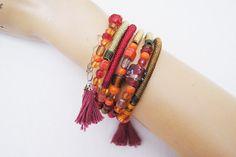BRACELET Fringed wooden  Bracelet Bohemian by ArtofAccessory