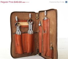 25% off fall sale / vintage drafting tool set leather case. 1960s Vemco Drafting Tool Set. Compass, caliper set. Architect Home Office Indu