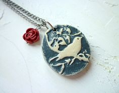 Bird Pendant in Grey with a Red Rose