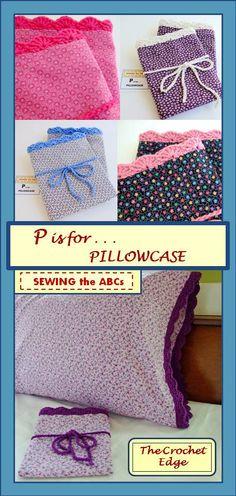 CROCHET EDGE PILLOWCASE . . . by  #SEWINGtheABCs on Etsy . . .  https://www.etsy.com/shop/SEWINGtheABCs  Crochet Edging, Floral Pillowcase,  Floral Bedding, Crochet Bedding, Modern Vintage Lace Edging, Crochet Pillow Cover, Crochet Pillow Case