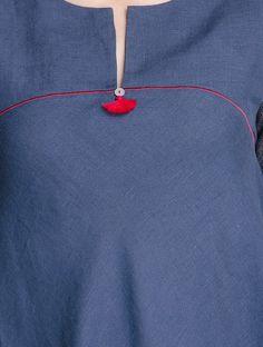 Simple design for tops. Dress Neck Designs, Sleeve Designs, Blouse Designs, Kurta Patterns, Dress Patterns, Sewing Patterns, Salwar Designs, Simple Kurti Designs, Kurta Neck Design