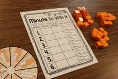 This is a fun partner game to practice counting and representing objects. Partner 1 spins a number and collects that number of cubes. Then, Partner 2 spins a number and collects that number of cubes. This continues until time is called. When a minute is up, each partner counts how many cubes they collected by making groups of tens with the cubes.