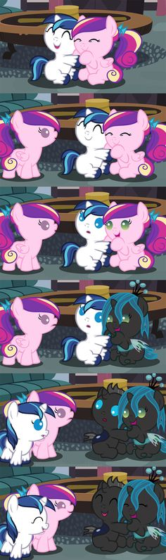 Aww, it's do cute! It makes it look like before the Queen changeling was evil, they were friends, because in the last pic they are all laughing and smiling together!