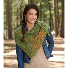 Bamboo Shawl Knit Pattern- Embrace Mother Nature with the gentle lines and soft colors of this pretty shawl by Megi Burcl knit in variegated hues of Willow Stream yarn.