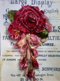 shiraz velvet rose shabby brooch corsage hair accessory