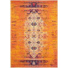 Faded, orange, purple, pink, bright, shabby chic Turish area rug from Joss and Main