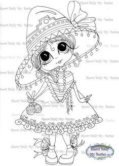INSTANT DOWMLOAD Digital Digi Stamps Big Eye Big Head Dolls Digi Img494  By Sherri Baldy