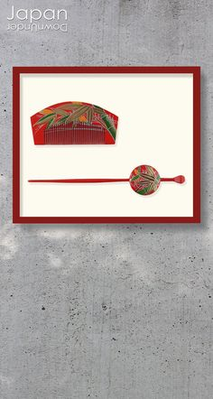 An antique geisha hair comb and hairpin set, made in the early Showa Era around 1930-1940. The hair comb is a traditional rectangular shape with a curved back and is made of red lacquered wood. It is covered in a beautiful design featuring green and gold bamboo trunks and leaves, some laquered and some bordered in thick, gold makie. #antiquekanzashi #japanesekanzashi #japanesehairpin #japanesehaircomb #lacquerkanzashi by #JapanDownUnder on Etsy Japanese Wall Art, Geisha Hair, Showa Era, Looking Gorgeous, Hair Comb, Green And Gold, Hair Pins, Antiques, Antiquities