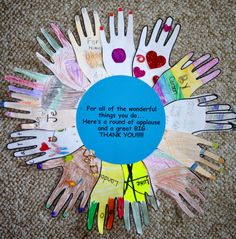 """Teacher Appreciation gift from the class. """"For all of the wonderful things you do... Here's a round of applause and a great BIG Thank You!"""""""