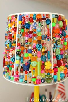 A lamp composed of a shade with a hodge podge of different beads. A lamp composed of a shade with … Cute Crafts, Diy And Crafts, Arts And Crafts, Lamp Shade Crafts, Decoration Restaurant, I Love Lamp, Lampshades, Lampshade Ideas, Lamp Ideas