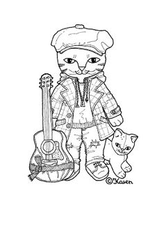 Karen`s Paper Dolls: Cat Brother 1-3 Paper Doll to Print and Colour. Kattebror…