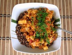 Buckwheat with lentils and tomatoes