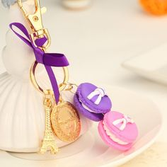New Brand Macarons Creative Key Chain Fashion Keyring Metal Car Keychain Women Gift Key Ring Bag Charms Pendant Jewelry