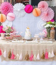 colorful pink wedding table decor / http://www.himisspuff.com/wedding-dessert-tables-displays/2/