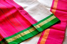 Gadwal sari - handloom cotton with silk borders, available at Omnah. www.facebook.com/omnah.