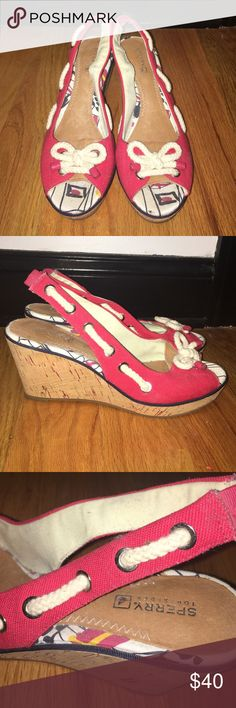 Sperry Slingback Wedges Lightly worn. 3 inch heel. Super comfortable, easy to wear. Sperry Top-Sider Shoes