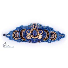 Soutache bracelet with lapis lazuli and pyrite
