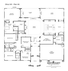 OLIVE HILL Floor Plans - New Homes in Bonsall - North County New Homes Modern House Floor Plans, Barn House Plans, Ranch House Plans, Craftsman House Plans, Country House Plans, New House Plans, Dream House Plans, 6 Bedroom House Plans, Pardee Homes