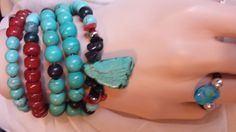 SOUTHWEST 6 ROW TURQUOISE Bracelet with Crow Beads by AVIASPLACE, $19.00