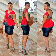 ~Latest African Fashion, African Prints n Denim skirt. African Print Dresses, African Fashion Dresses, African Dress, African Prints, Ankara Dress, Ankara Short Gown Styles, Short Gowns, Short Styles, African Tops