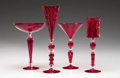 """Red Goblets""  Art Glass Goblet"