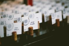 wine cork escort cards // photo by Redfield Photography