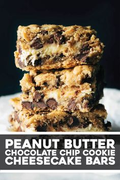 These peanut butter chocolate chip cookie cheesecake bars are just as extreme as they sound. For true dessert lovers! Gather your ingredients and whip up this yummy treat! Chocolate Chip Cookie Cheesecake, Desserts With Chocolate Chips, Chocolate Chip Bars, Peanut Butter Desserts, Cheesecake Cookies, Peanut Butter Chips, Peanut Butter Chocolate Cookies, Peanut Butter Cookie Bars, Cheesecake Recipes
