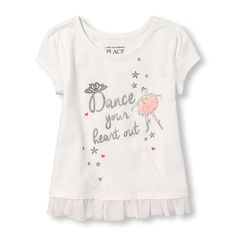 Baby Girls Toddler Short Cap Sleeve Graphic Mesh Hem Top - White - The Children's Place