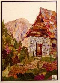 Botanical collage - cabin