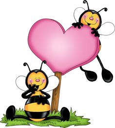 Bees With Pink Love Hearts Cartoon Clip Art - Bee Cartoon Clip Art Bee Crafts, Diy And Crafts, Art Mignon, Cute Bee, Clip Art, Bee Theme, Bee Happy, Tole Painting, Pink Love