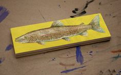 Freshwater Fish Art Medium Art Block - Lake Trout Art Print - 9 in x 3 in Fish Wall Decor Fisherman Gift for Dad by johnwgolden for $16.00
