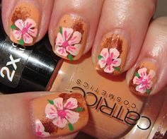 Pink flowers on peach & brown - out of my comfort zone
