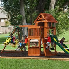 """Adventure Play Sets Atlantis Wooden Swing Set (switch places with slide and ladder) $599  18' 1"""" L x 7' 9 1/2"""" W x 9' 3 1/2"""" H  Cedar"""