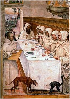 """St. Benedict and His Monks Eating in the Refectory"", fresco by Luca Signorelli ca. 1505. Benedict renewed emphasis on the vow of poverty for monks. (That dog looks hungry!)"