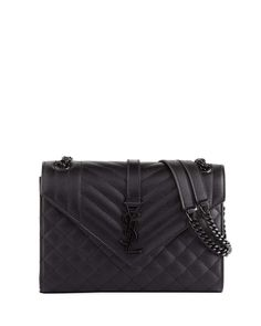 9c4da9ffafd1 Saint Laurent V Flap Monogram YSL Medium Tri-Quilt Envelope Shoulder Bag w/  Tonal Hardware