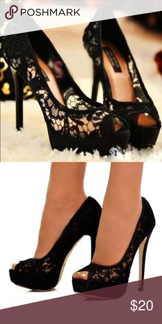 Black Lace High heels Size 5 black lace pumps. Pre-owned but in fabulous condition. Small toe peek a boo Shoes Heels
