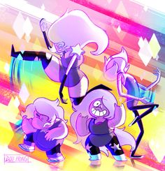 Steven Universe: Amethyst and the Amethysts! by dou-hong.deviantart.com on @DeviantArt