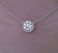 milgrain bezel diamond solitare necklace