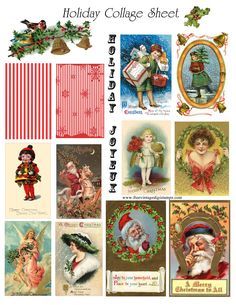 FREE printable digital Christmas collage sheet - Antique Images
