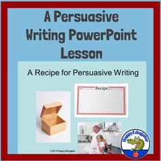 """Persuasive Writing PowerPoint teaches students how to write to persuade an audience. It gives students a """"recipe"""" to follow when writing a persuasive essay, and gives them the basic framework for a persuasive writing piece, starting with an introductory paragraph that ends with a thesis statement, a..."""