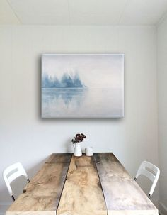 "Wall art print ""More Silence"" with lake and trees - Canvas wall decor for living room or Bedroom - Abstract painting by Ieva Ekmane by Ekmane on Etsy https://www.etsy.com/uk/listing/262259883/wall-art-print-more-silence-with-lake"