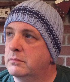 Hat Beanie Striped Mens Denim Blue Handknit Bernat Softee Chunky