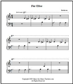Fur Elise VERY EASY arrangement for beginning piano players - just the main theme! Download it for your first-year students, FREE!